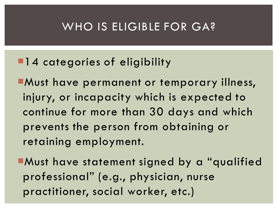 Who is eligible for GA 14 categories of eligibility.