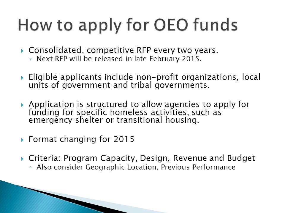 How to apply for OEO funds