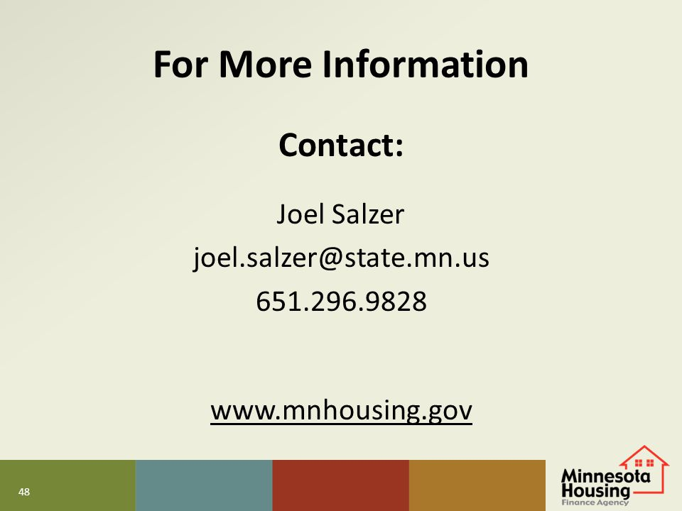 For More Information Contact: Joel Salzer joel.salzer@state.mn.us