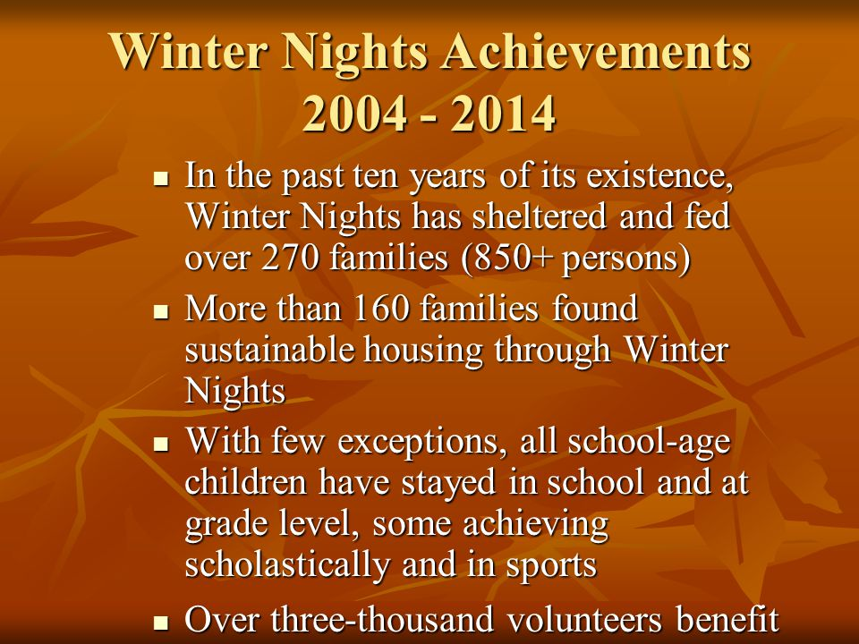 Winter Nights Achievements 2004 - 2014