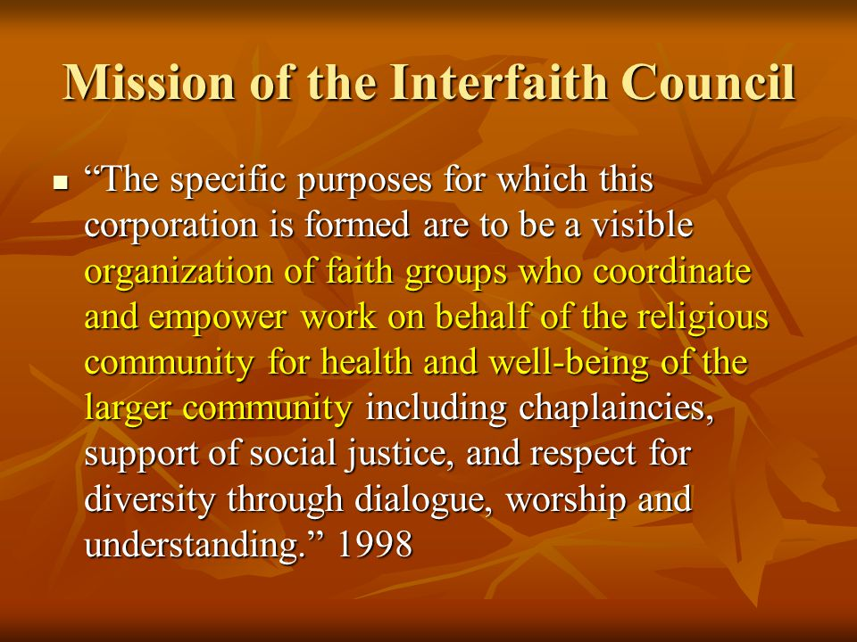 Mission of the Interfaith Council