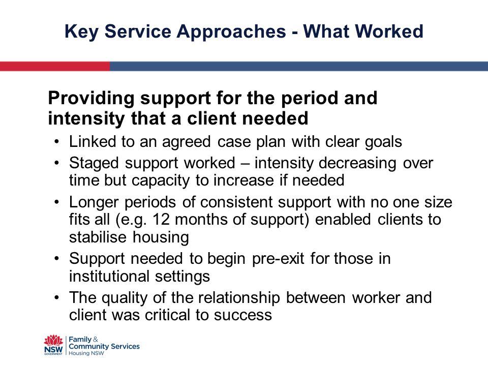 Key Service Approaches - What Worked