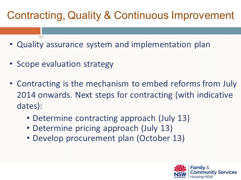Contracting, Quality & Continuous Improvement