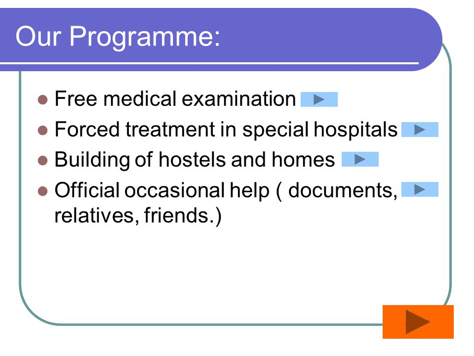 Our Programme: Free medical examination