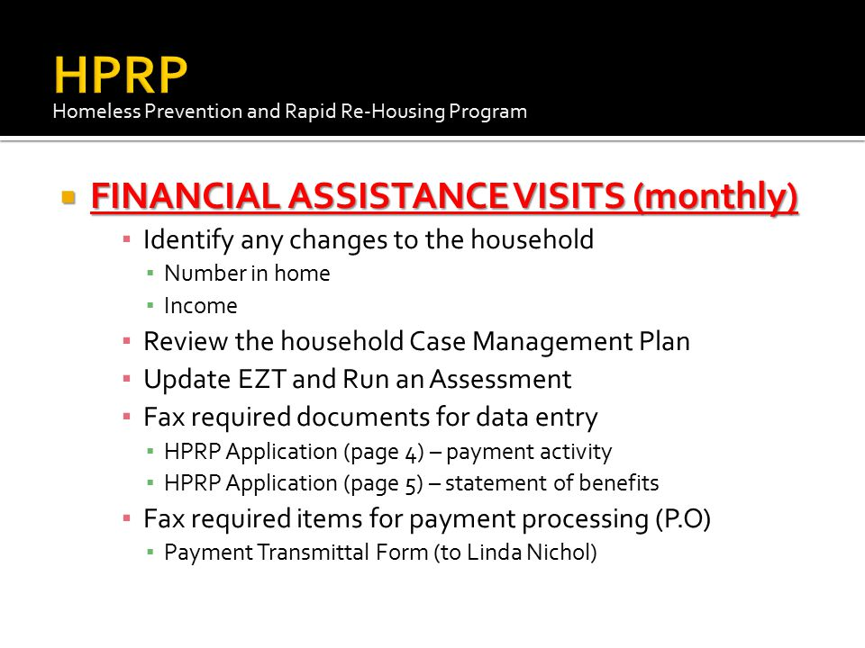 HPRP FINANCIAL ASSISTANCE VISITS (monthly)