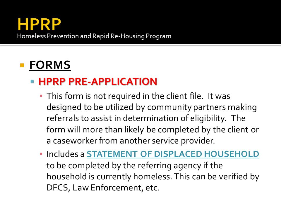 HPRP FORMS HPRP PRE-APPLICATION