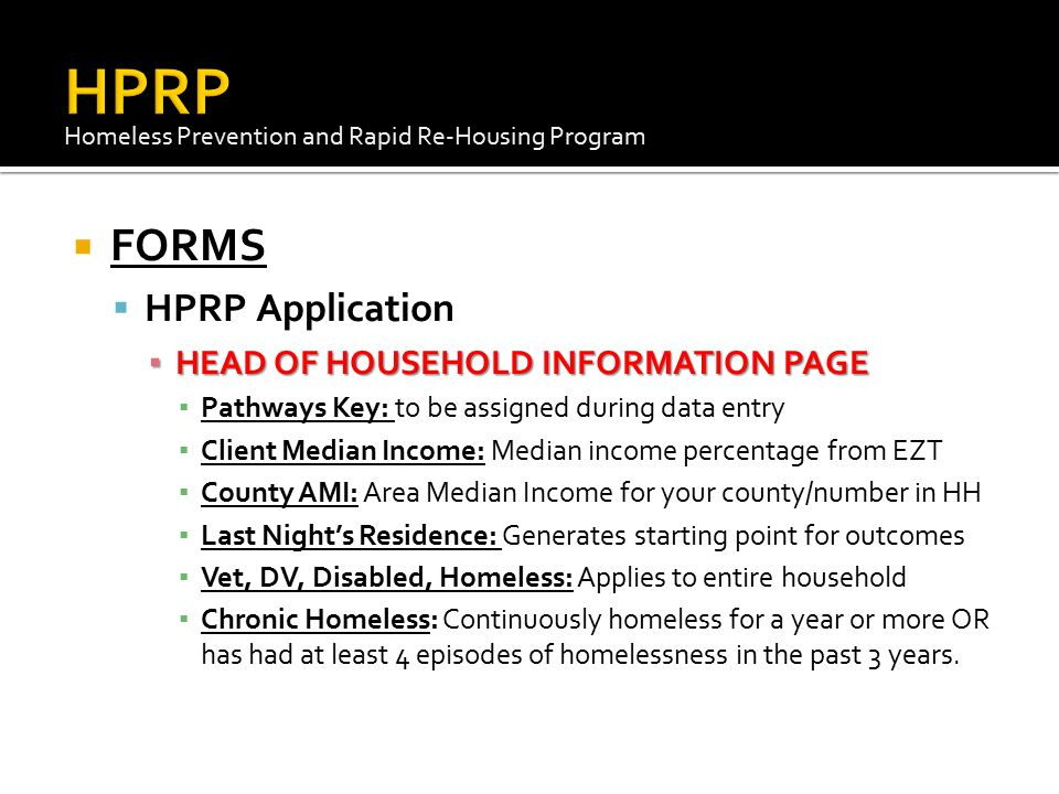 HPRP FORMS HPRP Application HEAD OF HOUSEHOLD INFORMATION PAGE