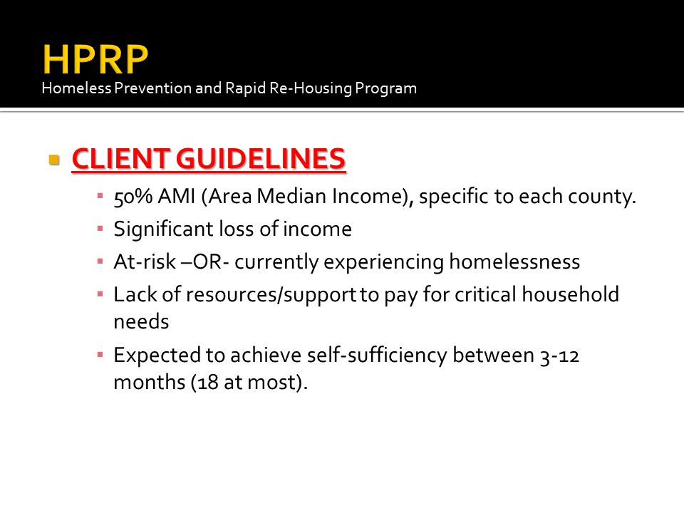 HPRP CLIENT GUIDELINES
