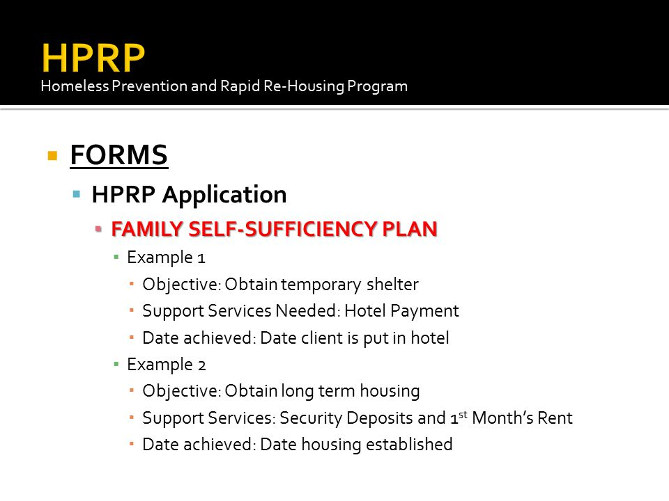 HPRP FORMS HPRP Application FAMILY SELF-SUFFICIENCY PLAN Example 1