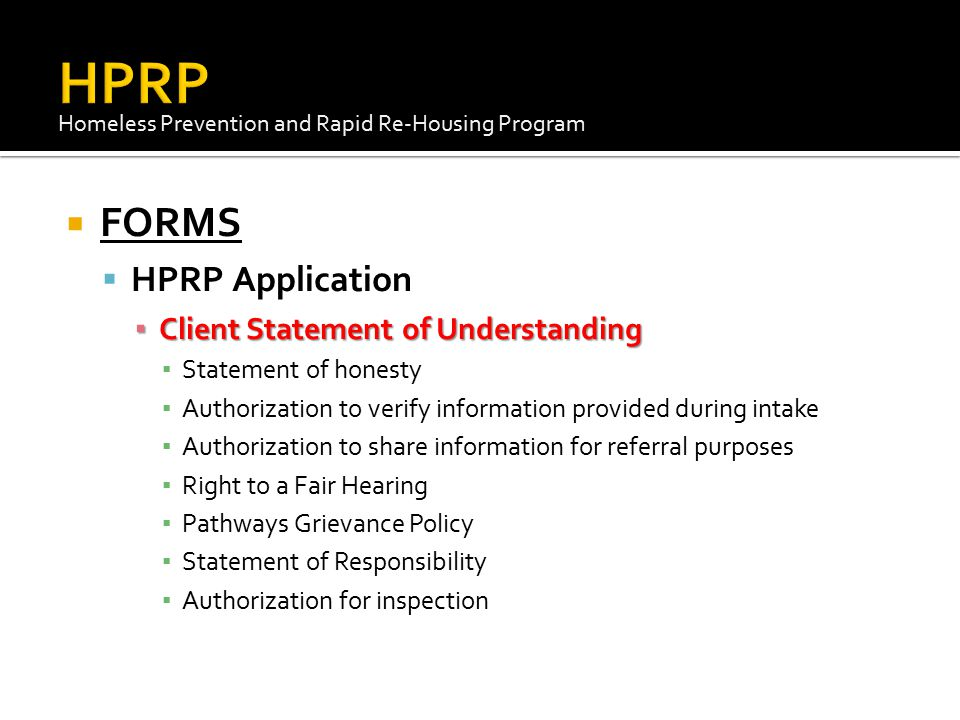 HPRP FORMS HPRP Application Client Statement of Understanding