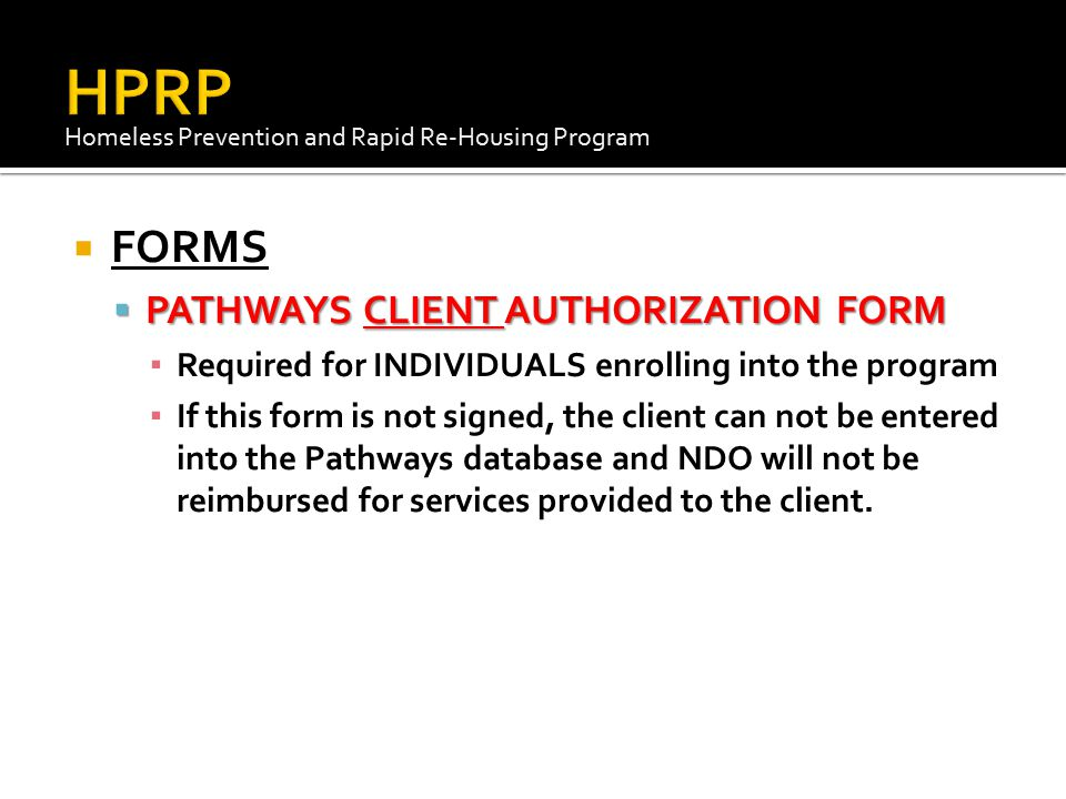 HPRP FORMS PATHWAYS CLIENT AUTHORIZATION FORM
