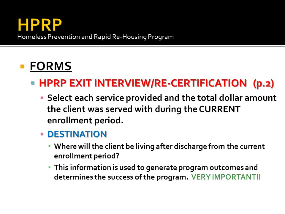 HPRP FORMS HPRP EXIT INTERVIEW/RE-CERTIFICATION (p.2)