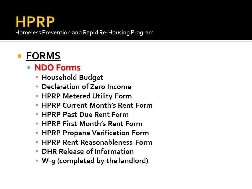 HPRP FORMS NDO Forms Household Budget Declaration of Zero Income