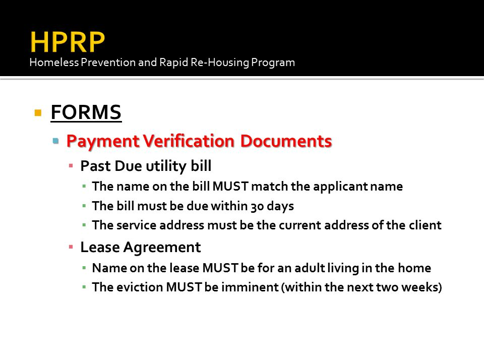 HPRP FORMS Payment Verification Documents Past Due utility bill