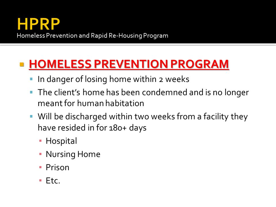 HPRP HOMELESS PREVENTION PROGRAM