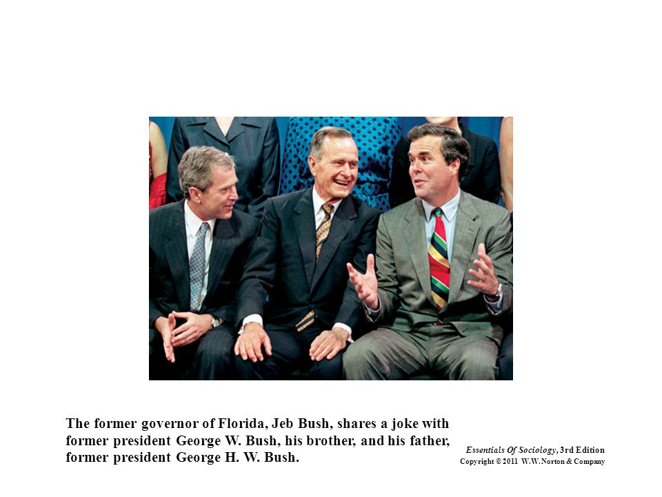 The former governor of Florida, Jeb Bush, shares a joke with