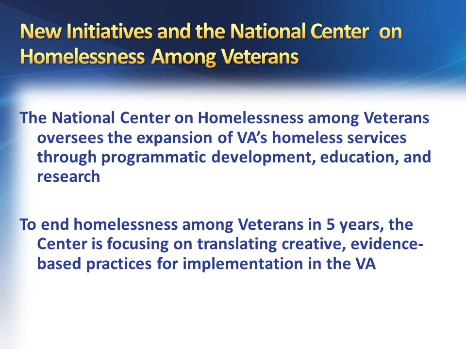 Ending Homeless Among Veterans
