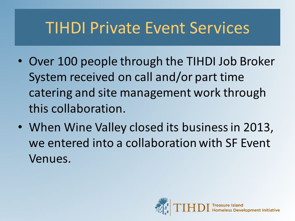 TIHDI Private Event Services