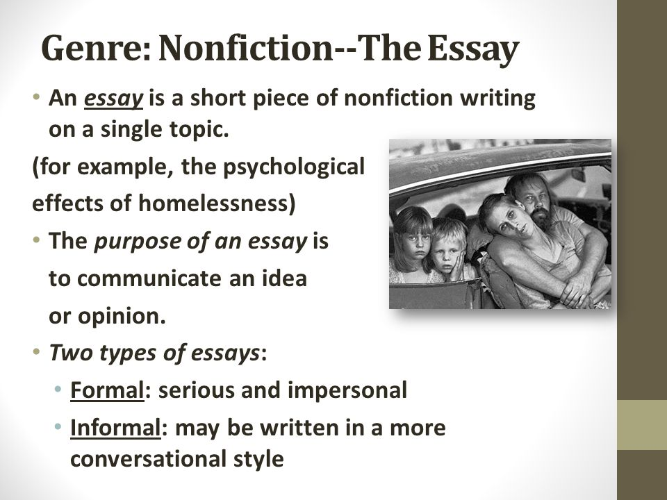 Genre: Nonfiction--The Essay