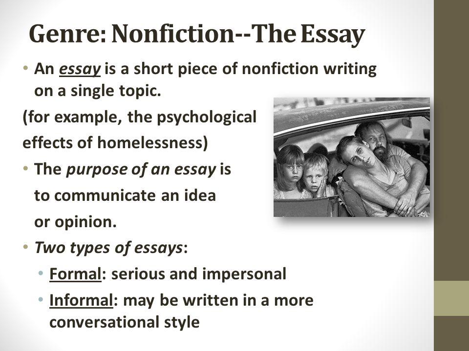 Genre: Nonfiction--The Essay