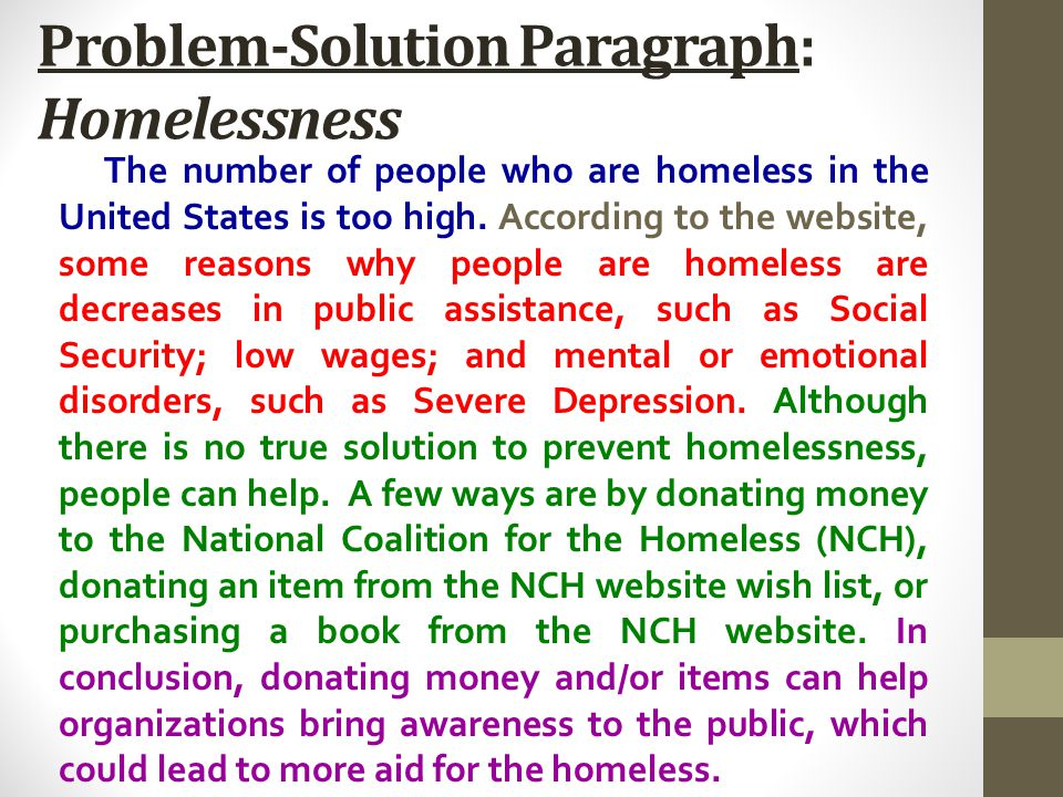 Problem-Solution Paragraph: Homelessness