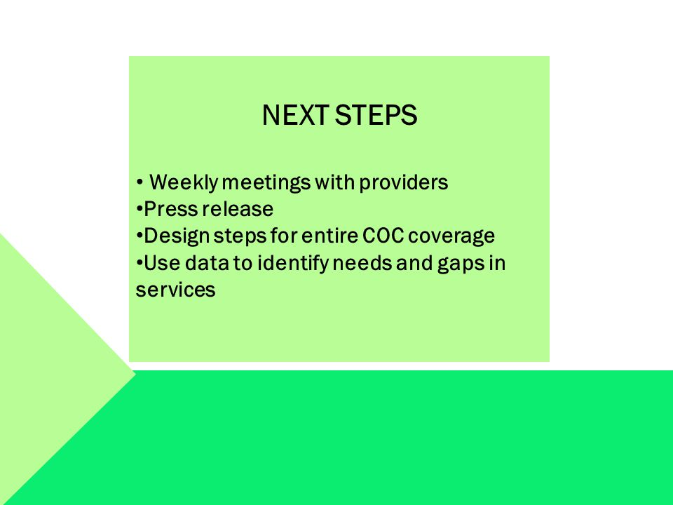 NEXT STEPS Weekly meetings with providers Press release