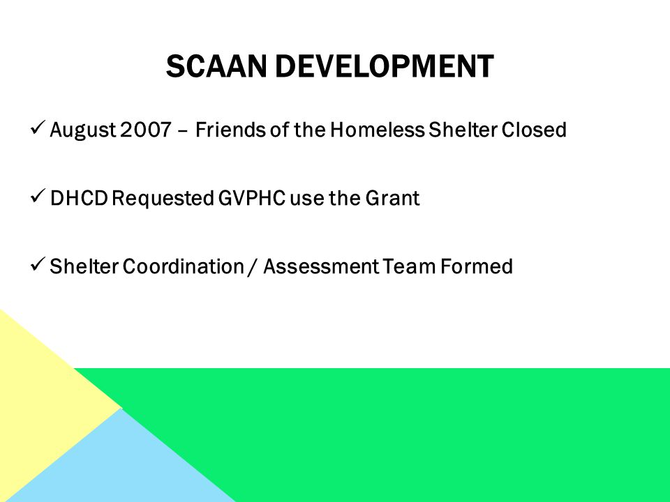 SCAAN Development August 2007 – Friends of the Homeless Shelter Closed