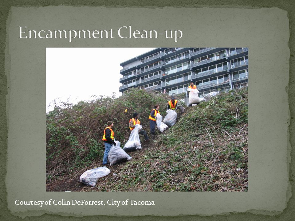 Encampment Clean-up Courtesy of Colin DeForrest, City of Tacoma