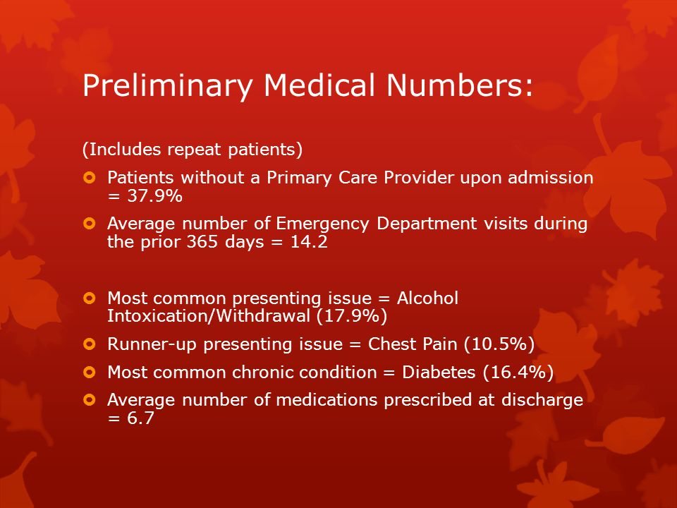 Preliminary Medical Numbers: