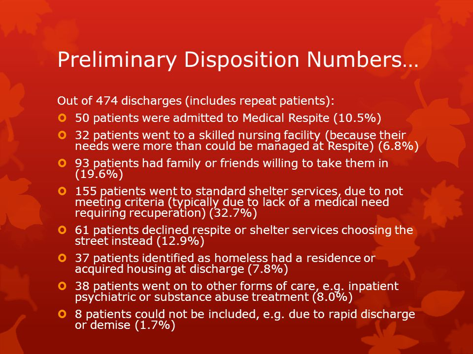 Preliminary Disposition Numbers…