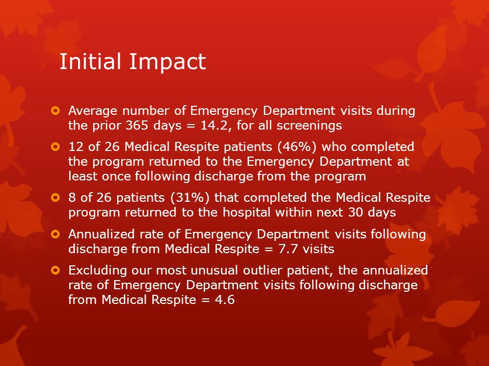Initial Impact Average number of Emergency Department visits during the prior 365 days = 14.2, for all screenings.