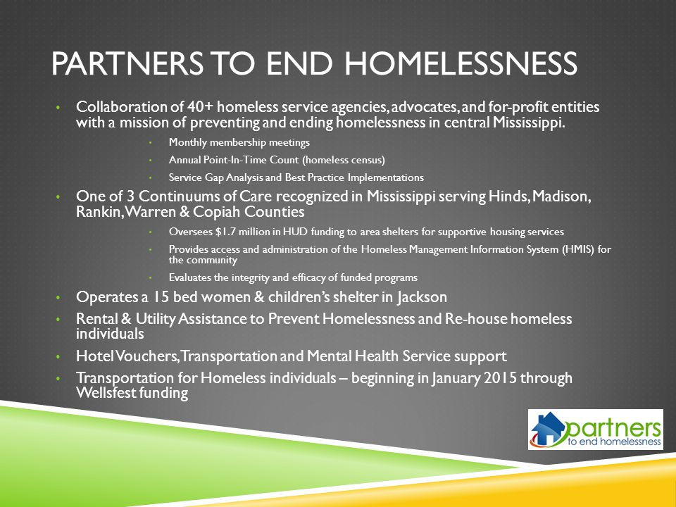 Partners to end homelessness
