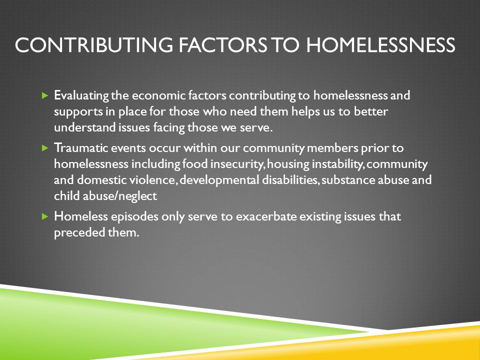 Contributing factors to homelessness