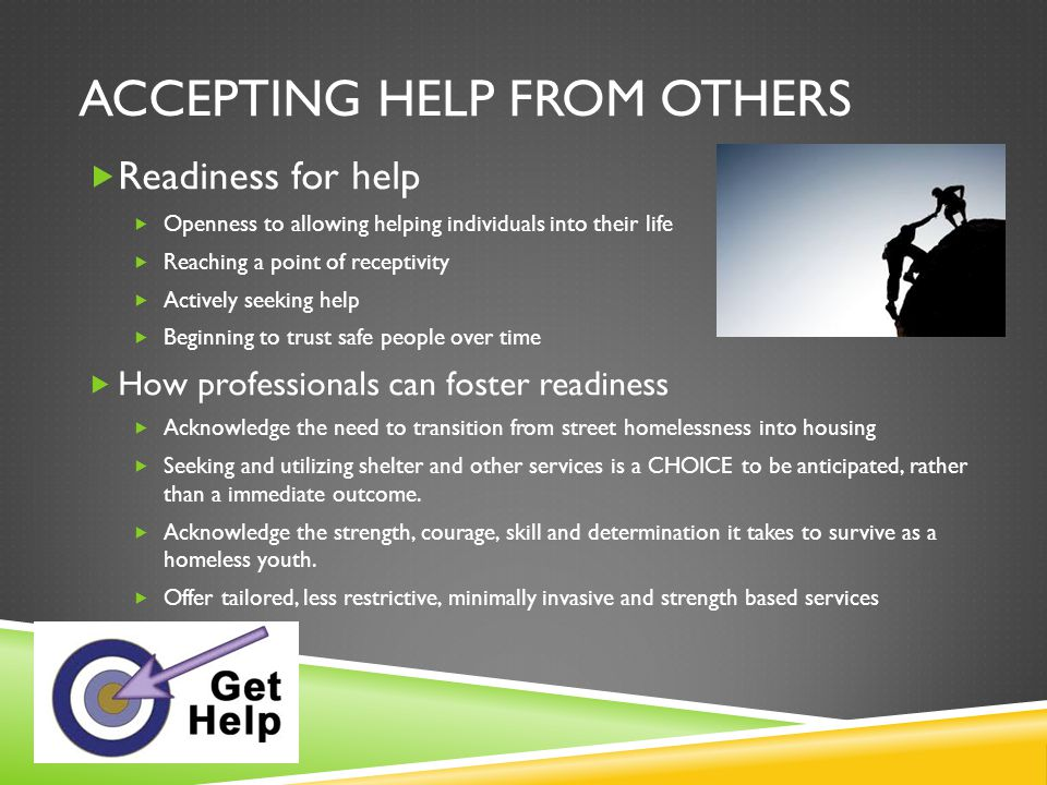 Accepting help from others