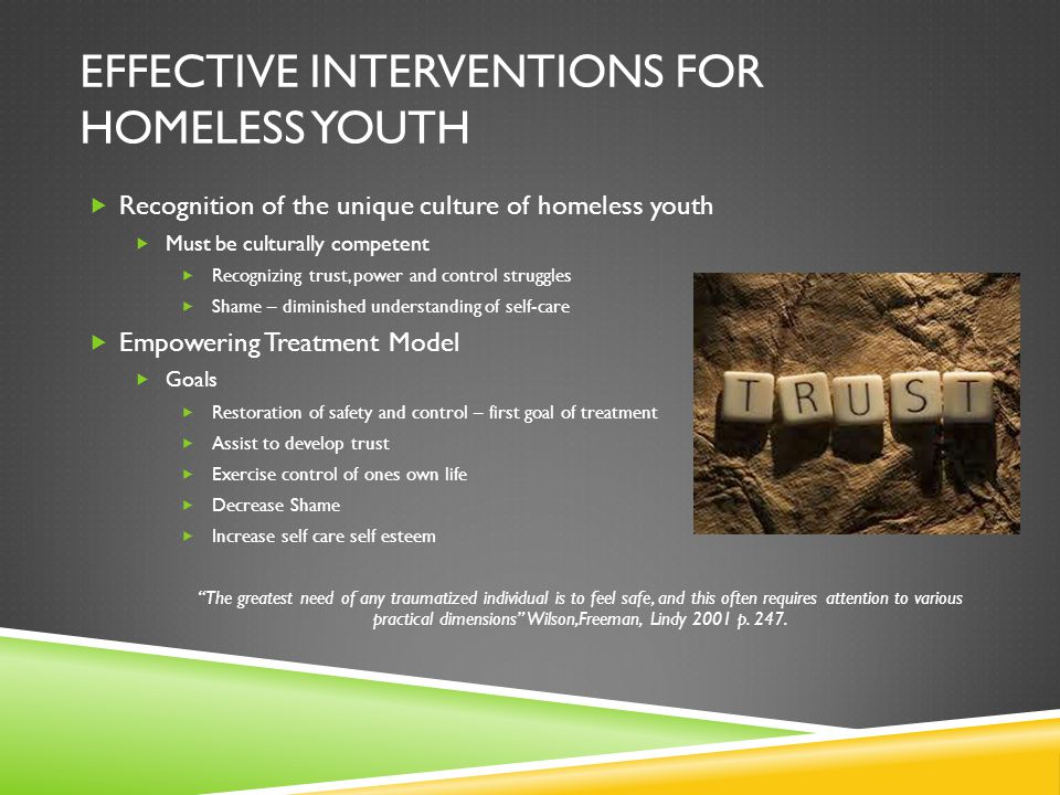 Effective interventions for homeless youth