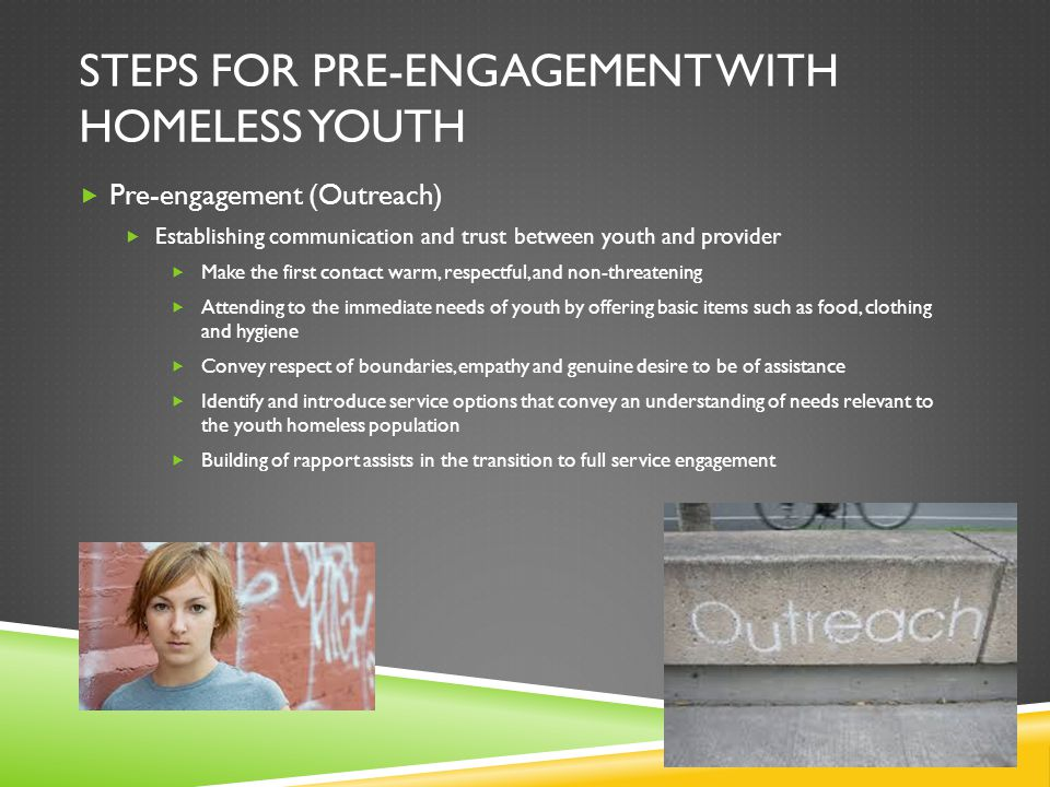 Steps for Pre-engagement with homeless youth