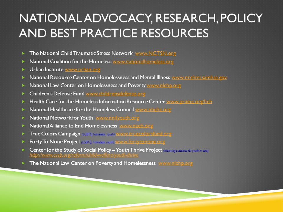 National Advocacy, Research, Policy and Best Practice Resources