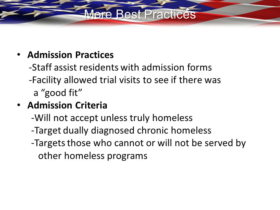 More Best Practices Admission Practices