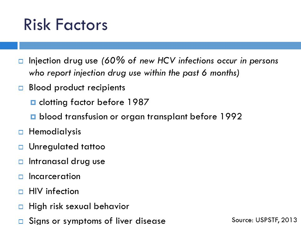 Risk Factors Injection drug use (60% of new HCV infections occur in persons who report injection drug use within the past 6 months)