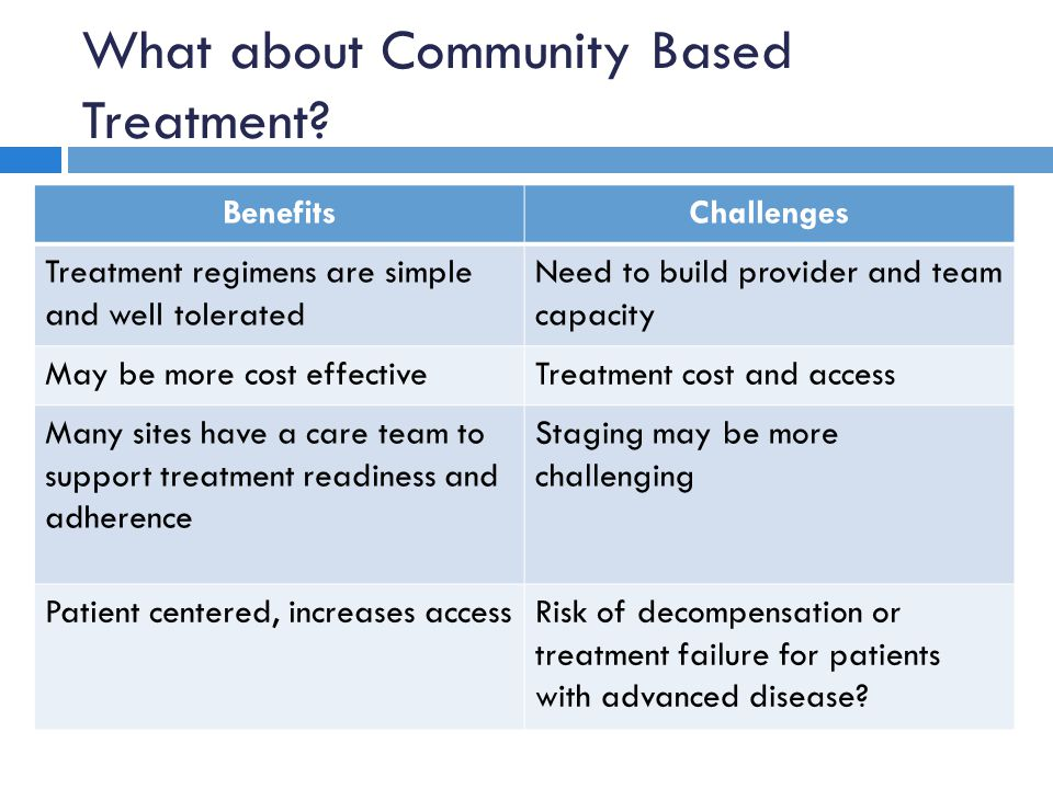 What about Community Based Treatment