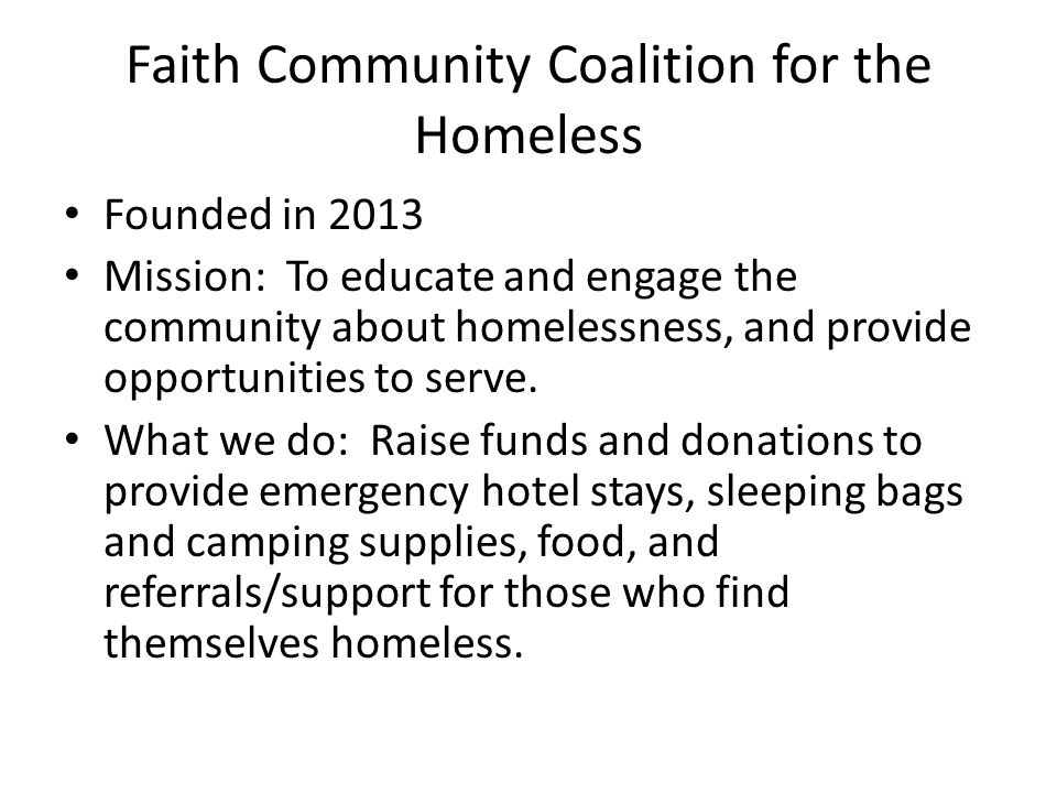 Faith Community Coalition for the Homeless