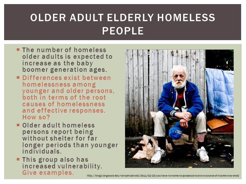 Older Adult Elderly Homeless People