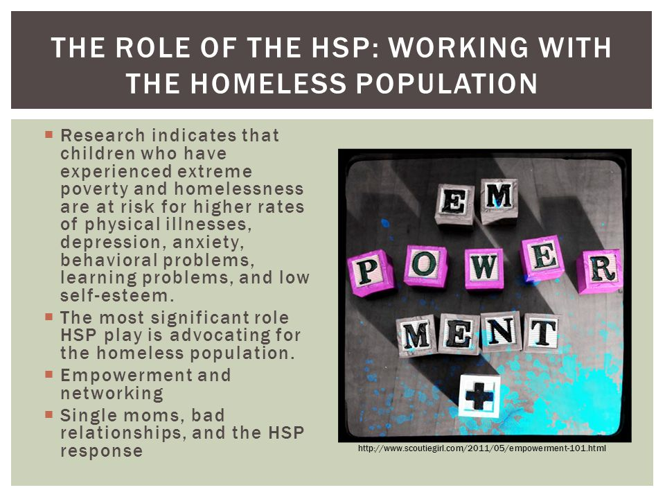 The Role of the HSP: working with the homeless population