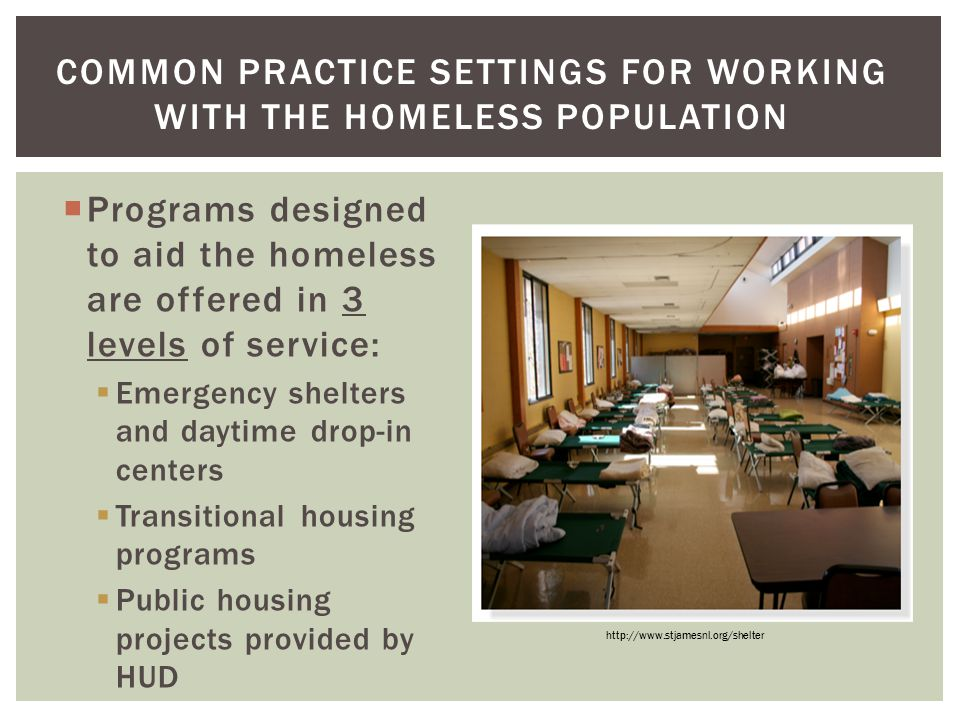 Common Practice Settings for Working with the Homeless population