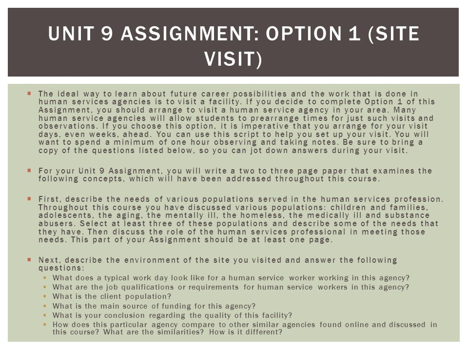 Unit 9 Assignment: Option 1 (Site Visit)