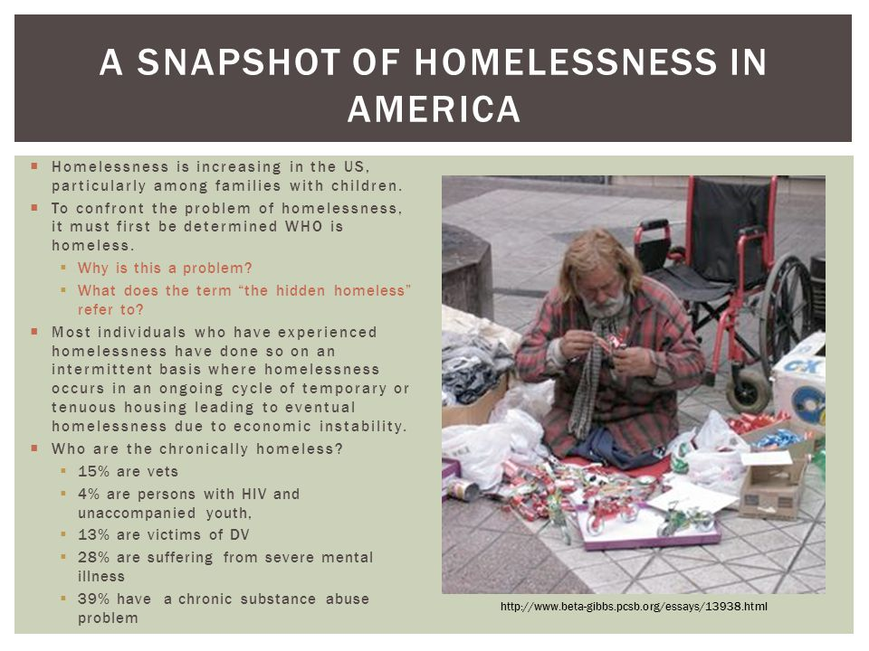 A SnapShot of Homelessness in America