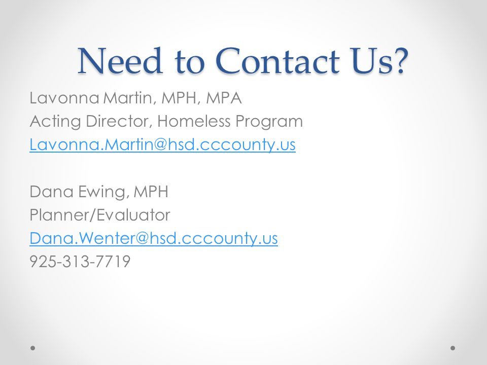 Need to Contact Us