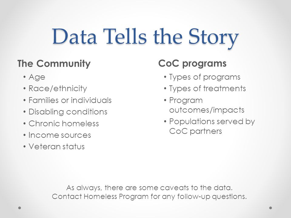 Data Tells the Story The Community CoC programs Age Race/ethnicity