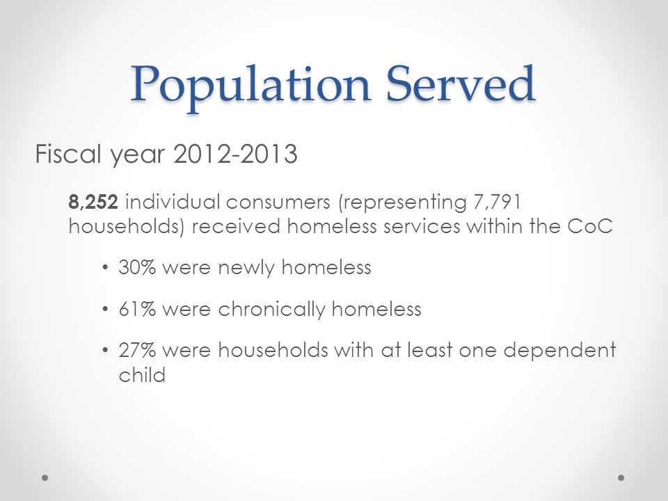 Population Served Fiscal year 2012-2013