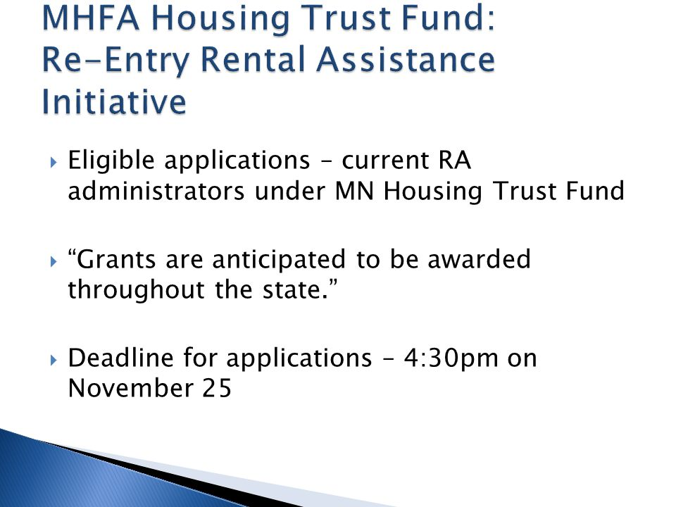 MHFA Housing Trust Fund: Re-Entry Rental Assistance Initiative